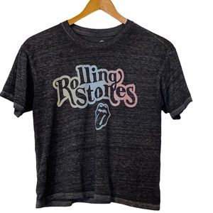 Rolling Stones Graphic Band Tee Gray and Pastel Rainbow Crop Top Sz S